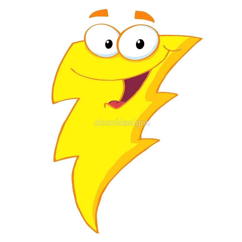 1000x1000 Silly Cute Cartoon Lightning Bolt Character By Doonidesigns
