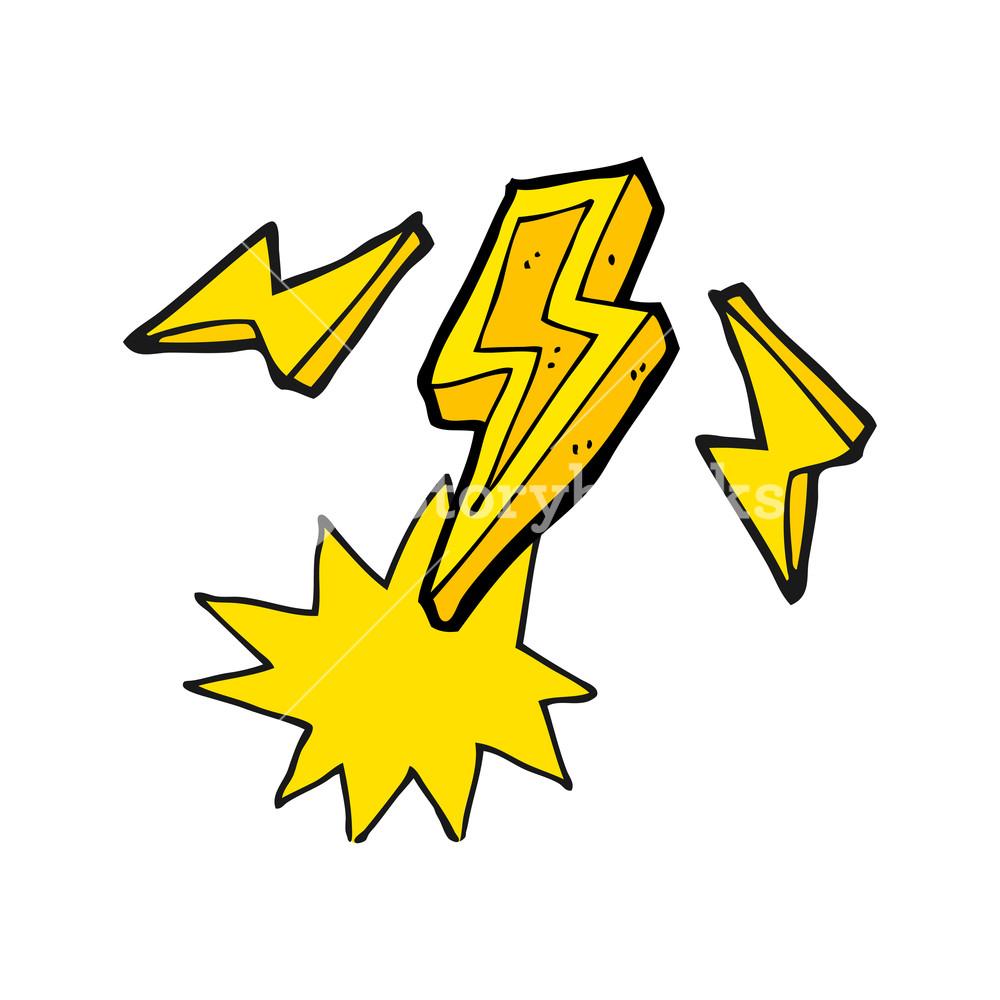 1000x1000 Freehand Drawn Cartoon Lightning Bolt Doodle Royalty Free Stock