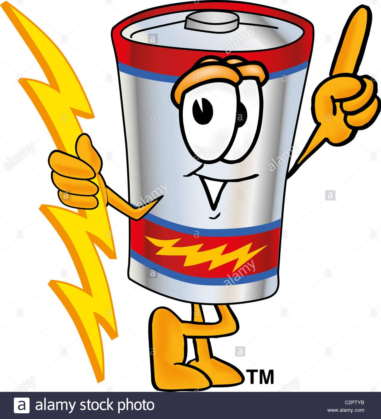 1264x1390 Cartoon Battery Mascot Holding A Lightning Bolt Stock Photo