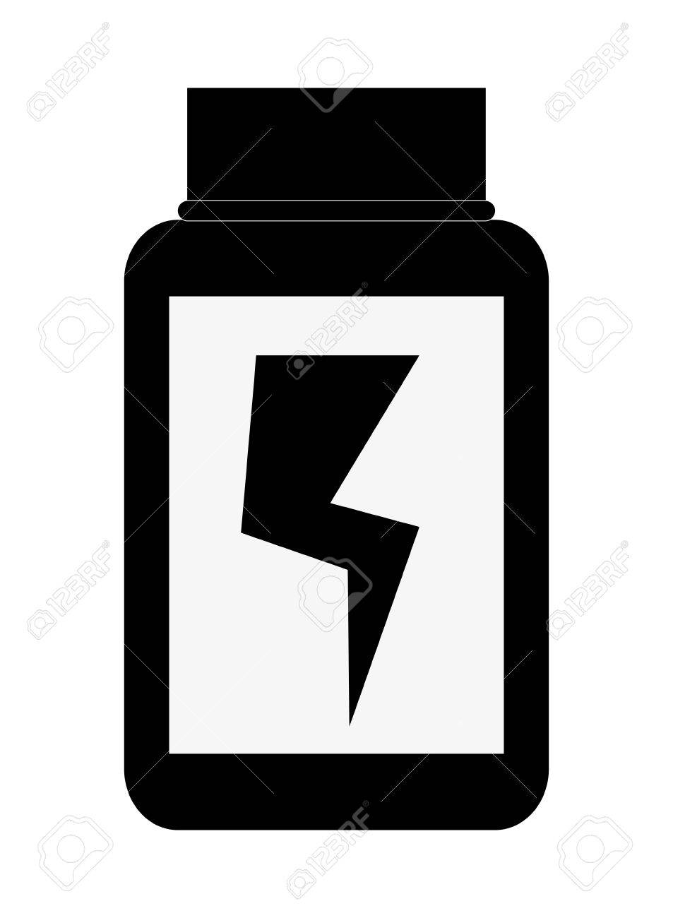 953x1300 Simple Black And White Dietary Supplement With Lightning Bolt