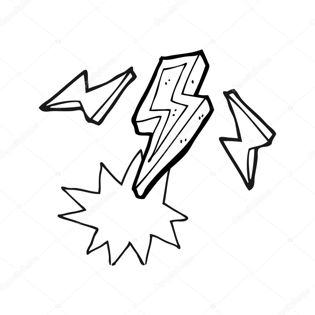 1024x1024 Black And White Cartoon Lightning Bolt Doodle Stock Vector