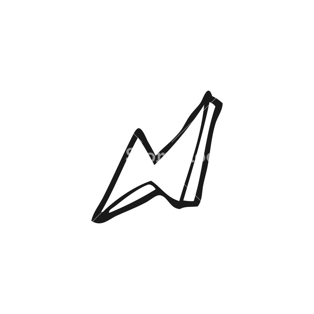 1000x1000 Freehand Drawn Black And White Cartoon Lightning Bolt Royalty Free
