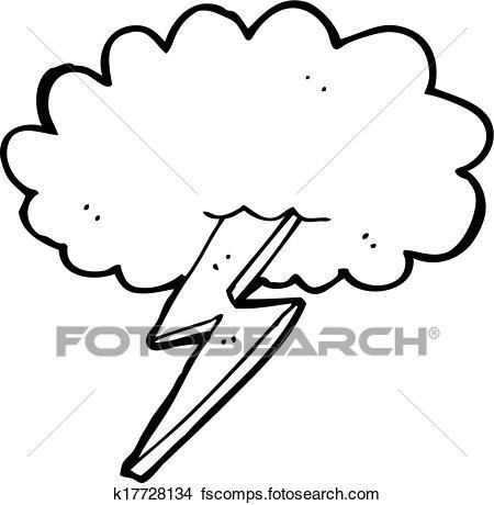 450x460 Clipart Of Cartoon Lightning Bolt And Cloud K17728134