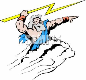 300x280 Free Clipart Image Zeus Aiming A Bolt Of Lightning