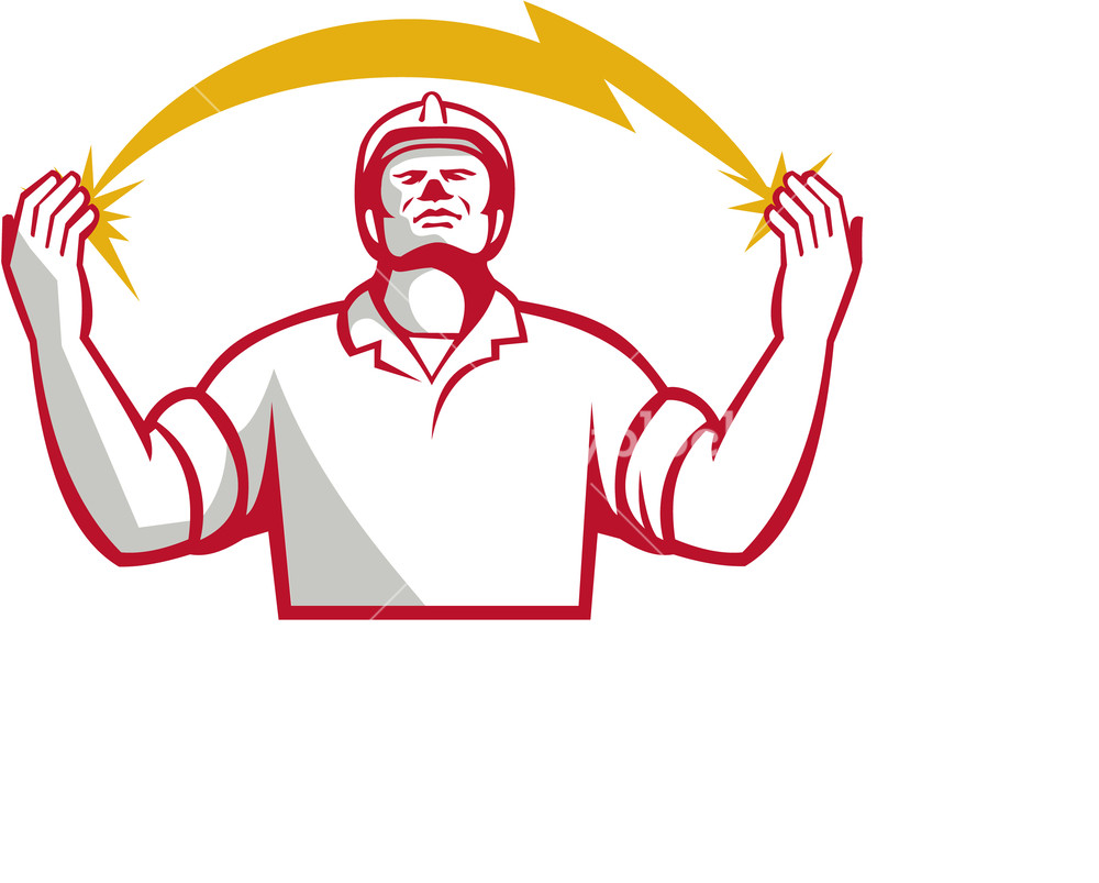 1000x803 Illustration Of An Electrician Looking Up And Hands Raised