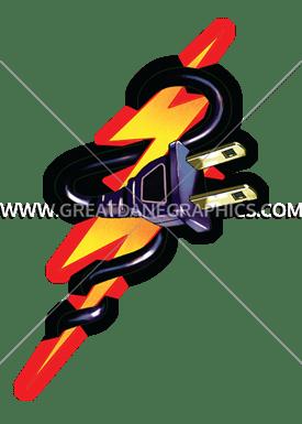 275x385 Lightning Bolt Plug Production Ready Artwork For T Shirt Printing