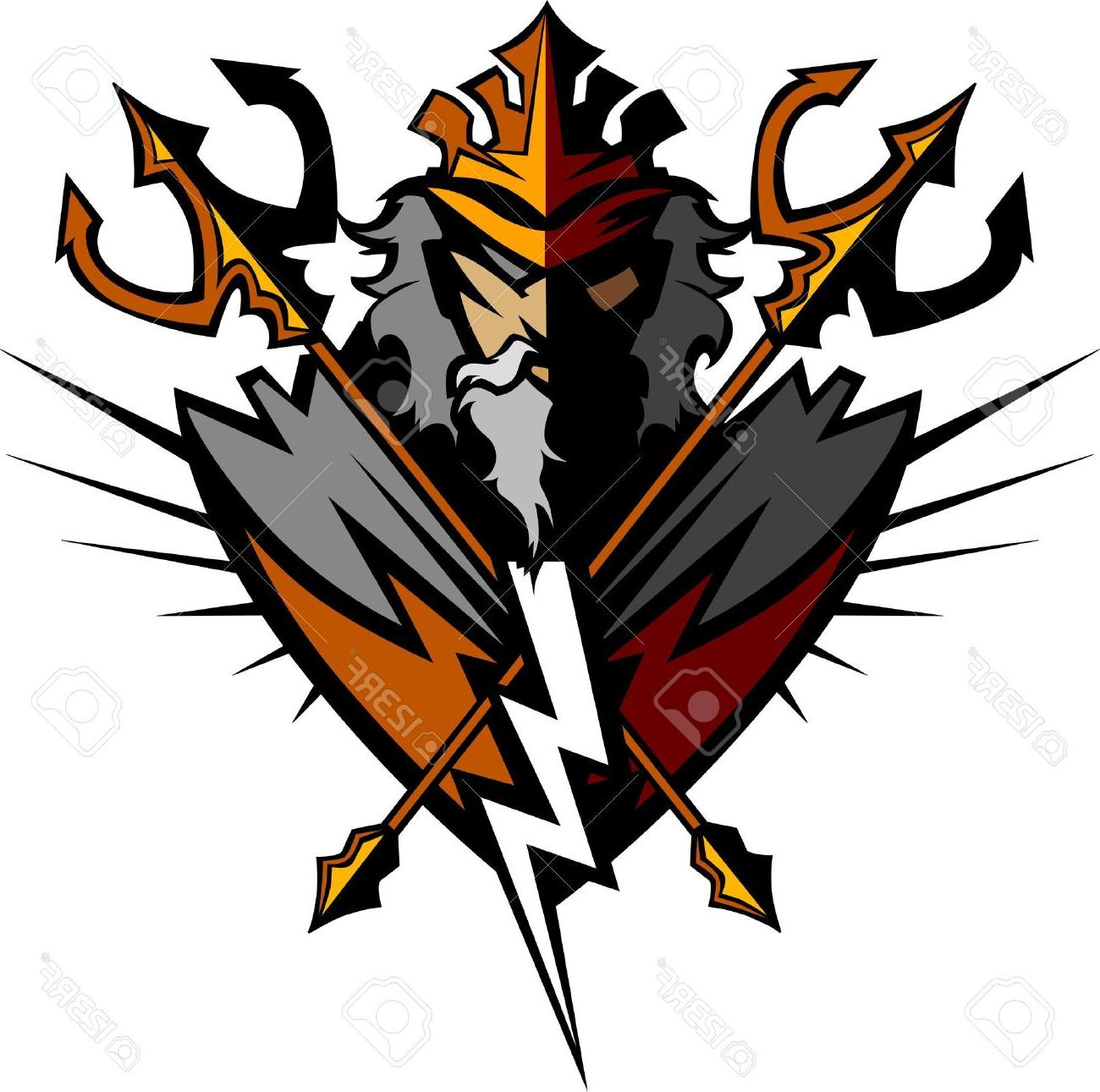 1300x1291 Best Greek God Tridents And Lightning Bolt Graphic Vector Image