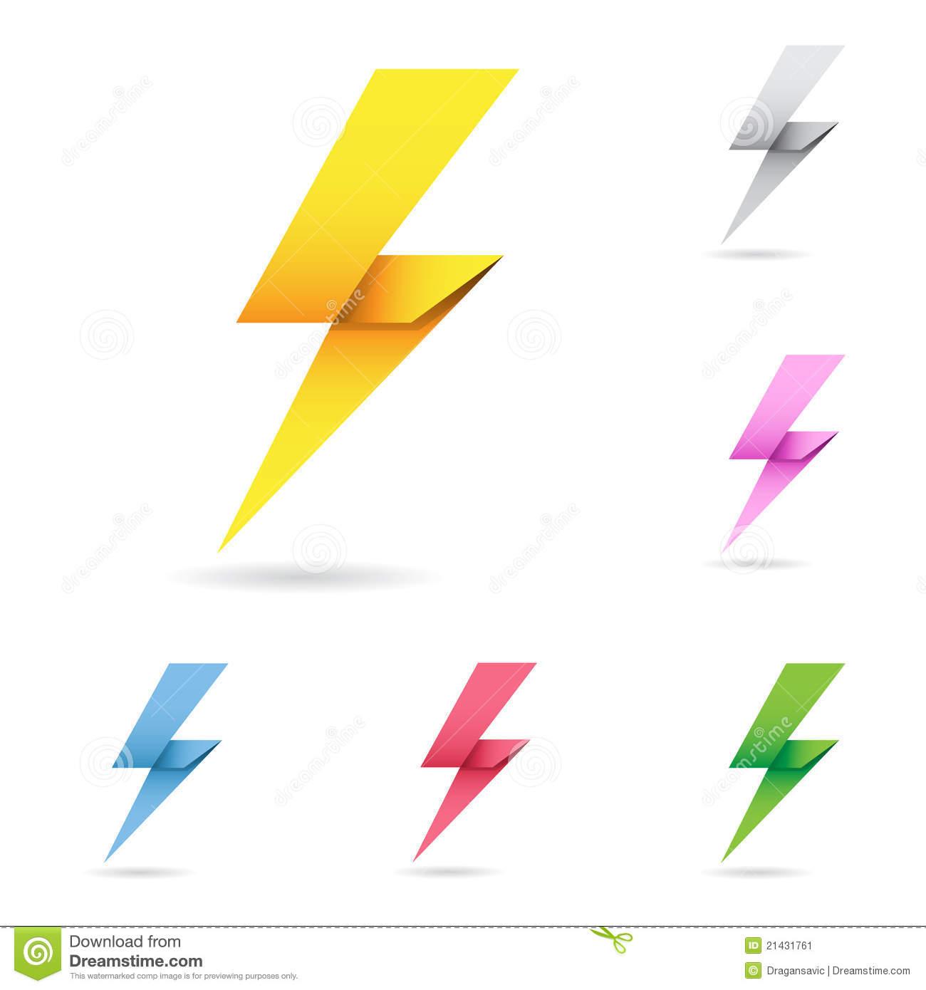 1300x1390 Set Of Origami Lightning Bolts