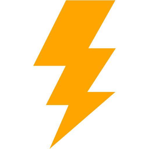 512x512 Orange Lightning Bolt Icon