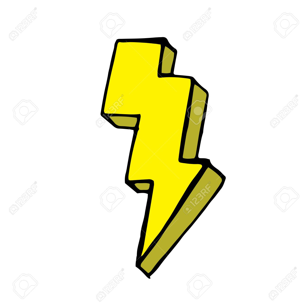 1300x1300 Yellow Lightning Bolt Doodle. Vector Hand Drawn Illustration