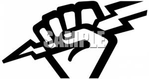 300x159 Art Image Black And White Hand Holding A Bolt Of Lightning