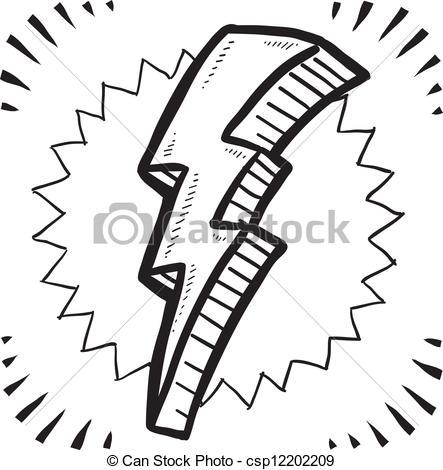 443x470 Lightning Clipart Sketch