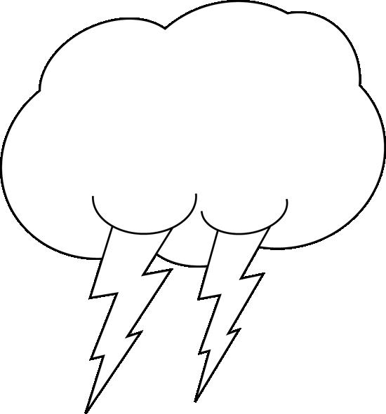 550x591 Black And White Lightning Cloud Clip Art