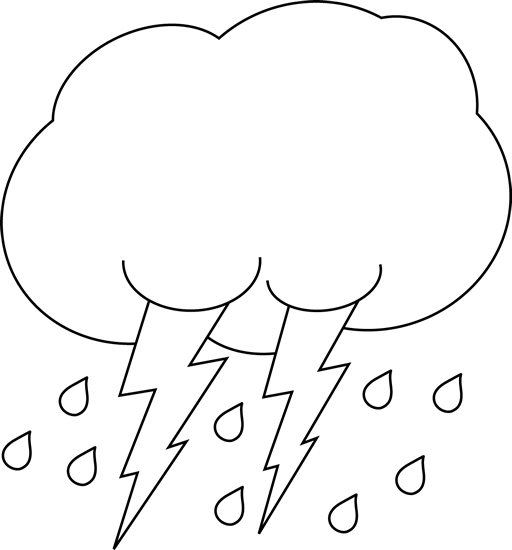 512x550 Black And White Lightning And Rain Cloud Clip Art