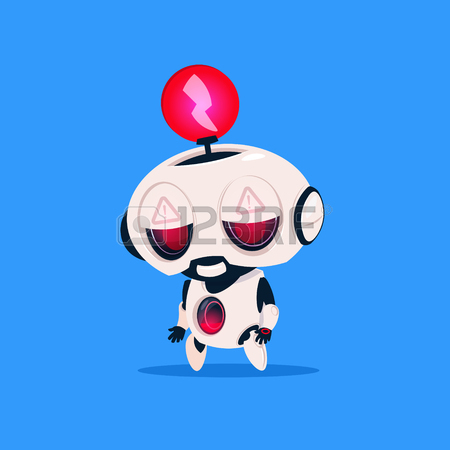 450x450 Cute Robot With Red Lightning Low Charge On Blue Background
