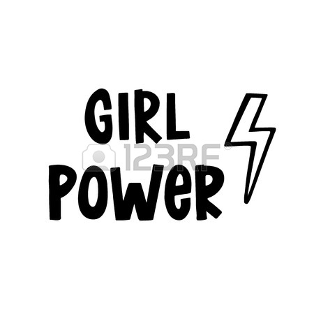 450x450 Girl Power. The Inscription Hand Drawing With Lightning