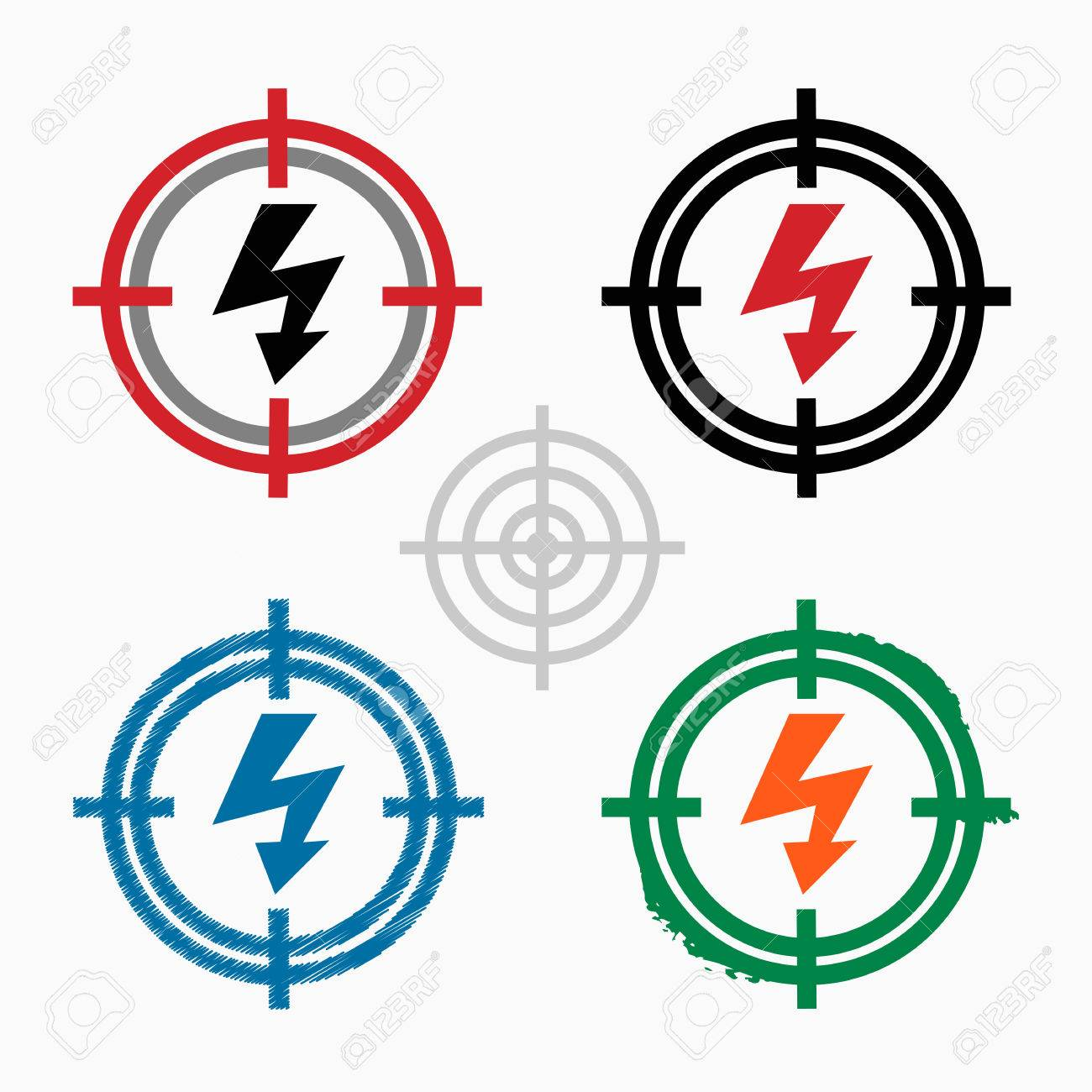 1300x1300 Lightning Icon On Target Icons Background. Crosshair Icon. Vector