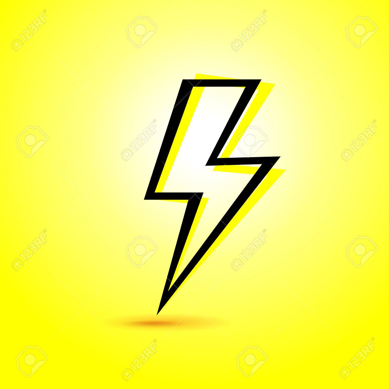 1300x1300 Vector Illustration Of Abstract Lightning Icon On Yellow