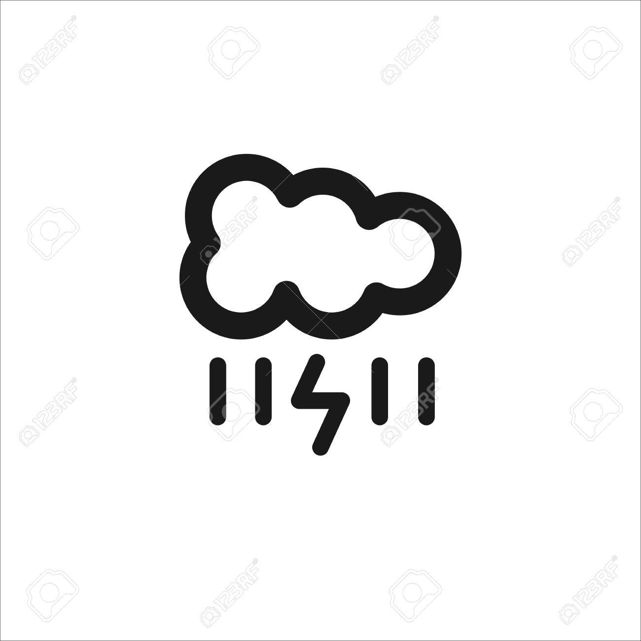 1300x1300 Black Cloud With Lightning And Rain Vector Line Icon On White
