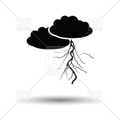 400x400 Clouds And Lightning Icon On White Background Royalty Free Vector