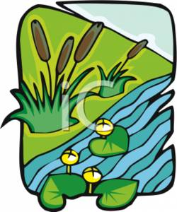 250x300 Clipart Of A Pond With Lily Pads And Cattails