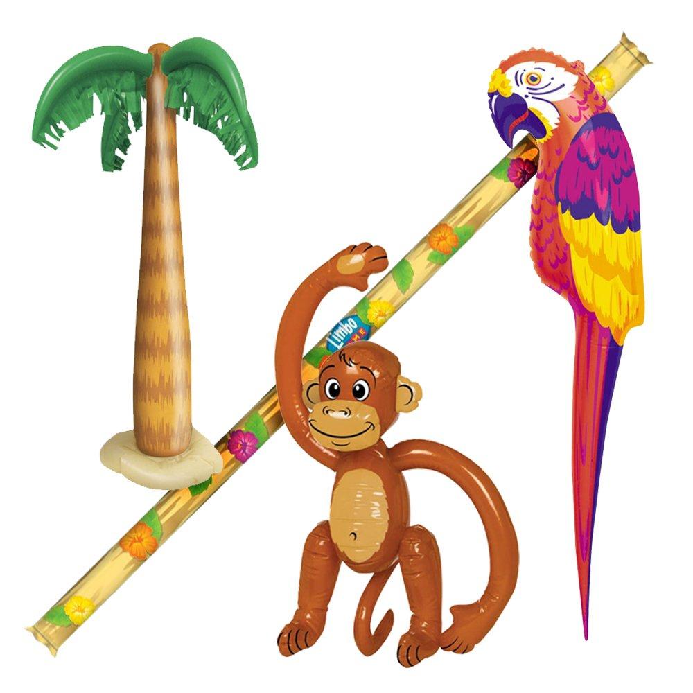 1000x1000 4 Hawaiian Beach Party Inflatables Monkey Parrot Palm Tree Limbo