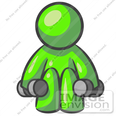 450x450 Clip Art Graphic Of A Lime Green Guy Character Working Out