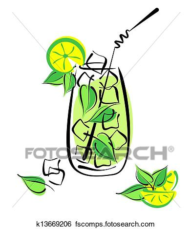 393x470 Clip Art Of Iced Mojito With Lime And Mint. Alcohol Cocktail