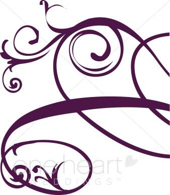 338x388 Purple Right Edge Floral Flourish Clipart Clipart Color Variations