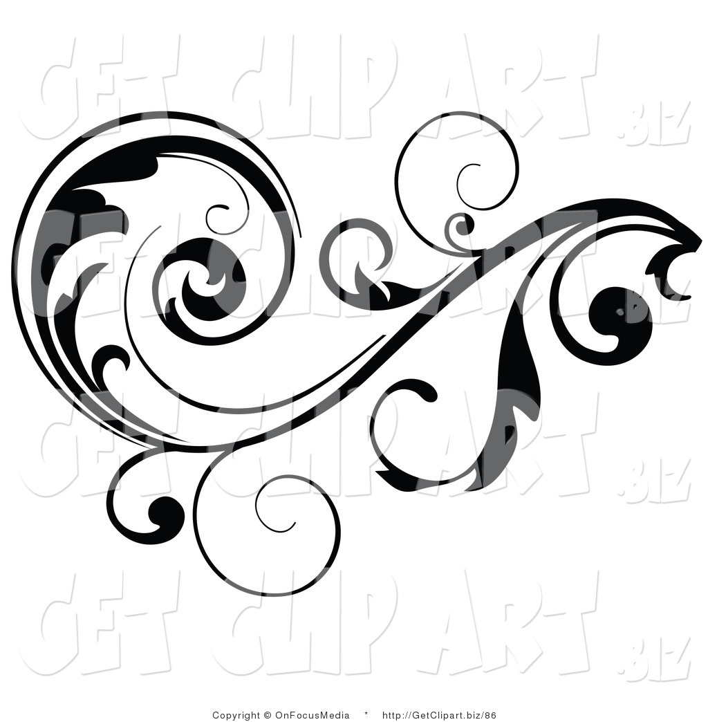 1024x1044 Clip Art Of A Black Leafy Vine Design Accent With Scrolling Leaves