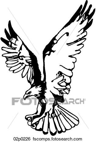 316x470 Clip Art Of Eagle With Wings Up 02p0226
