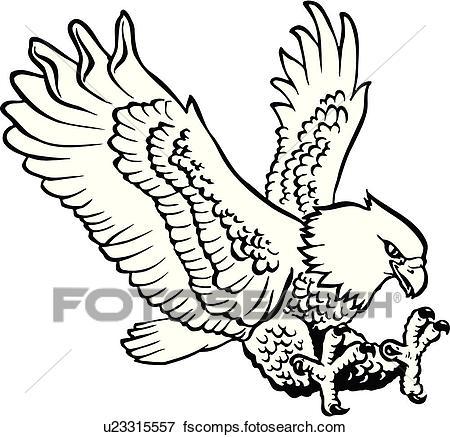 450x437 Clip Art Of Illustration, Lineart, Animal, Bird, Eagle U23315557