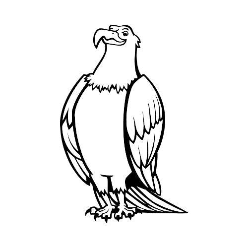 500x500 Eagle07v4bw Clip Art