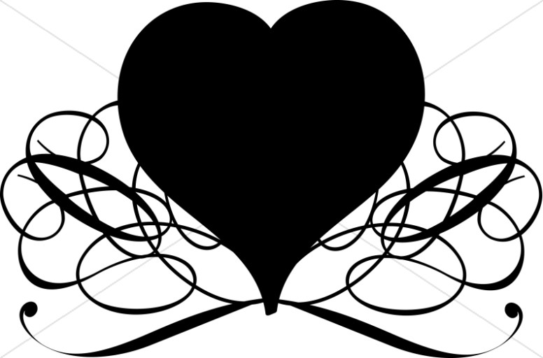 776x512 Black And White Swirls Heart Valentines Day Clipart