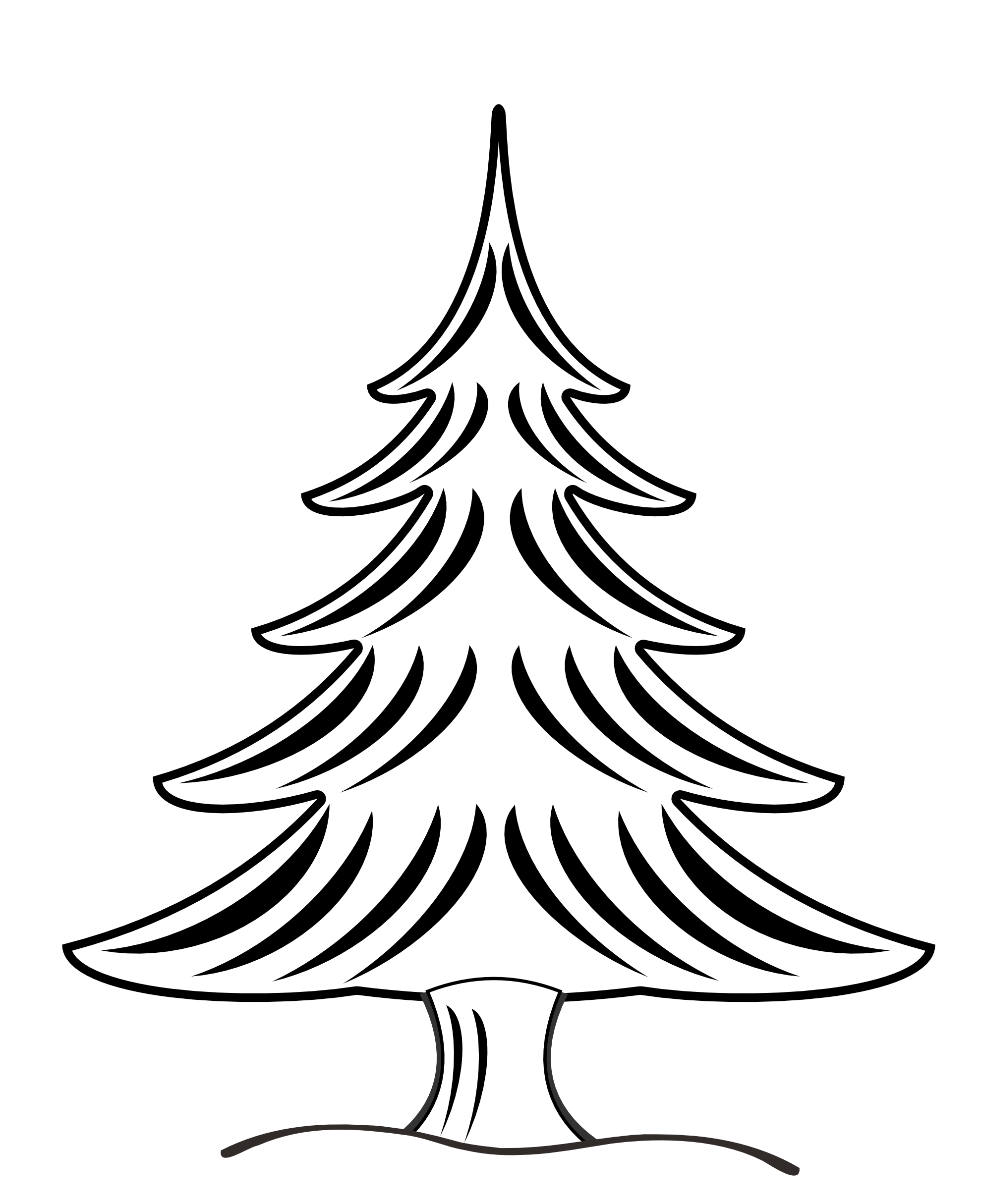 1979x2430 Christmas Tree Black White Line Art Clipart