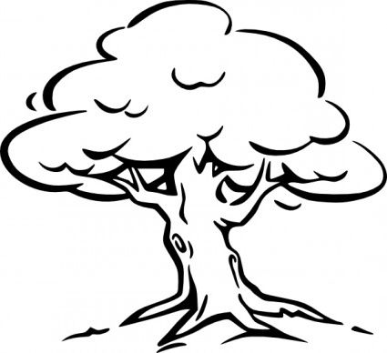 425x388 Tree Clip Art Oak Tree Clipart Black And White Image