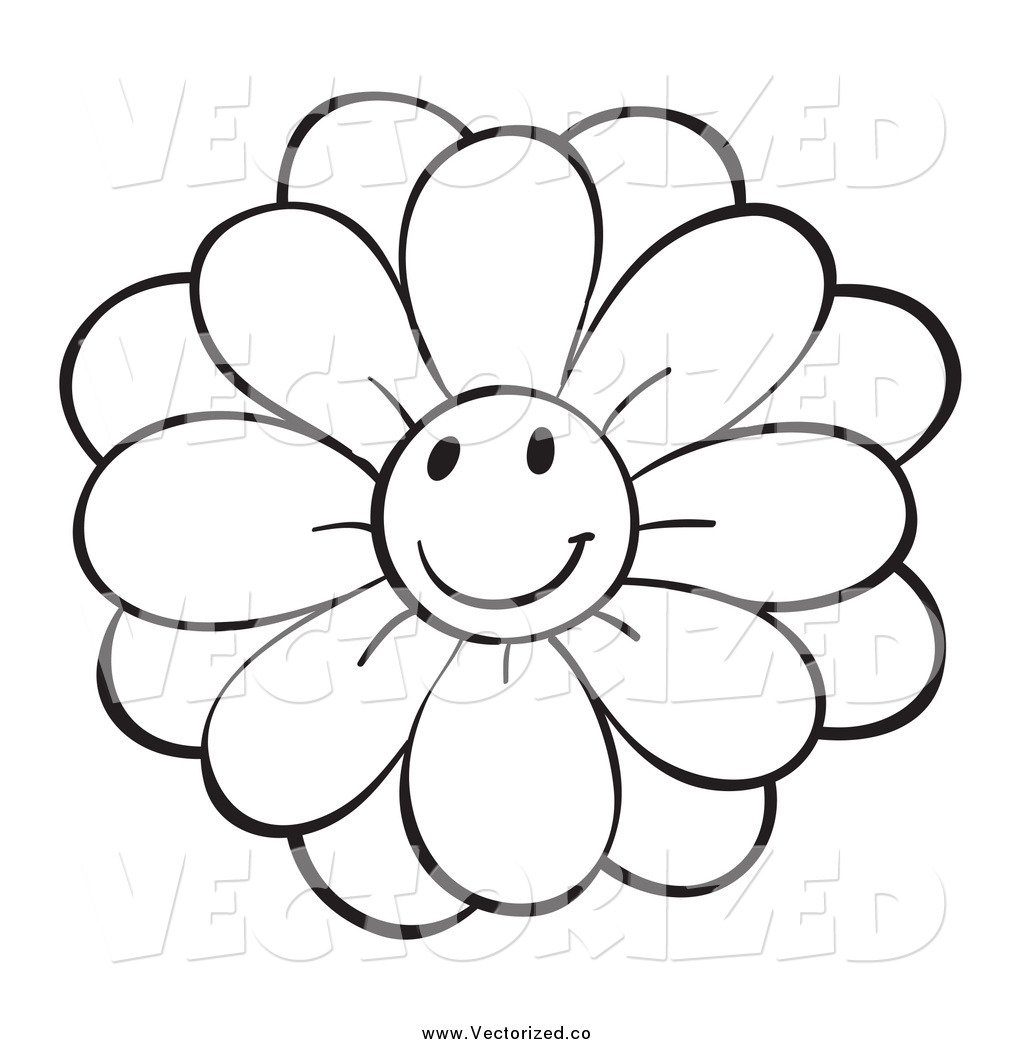 Flower Head Line Drawing : Line drawing of a flower free download best