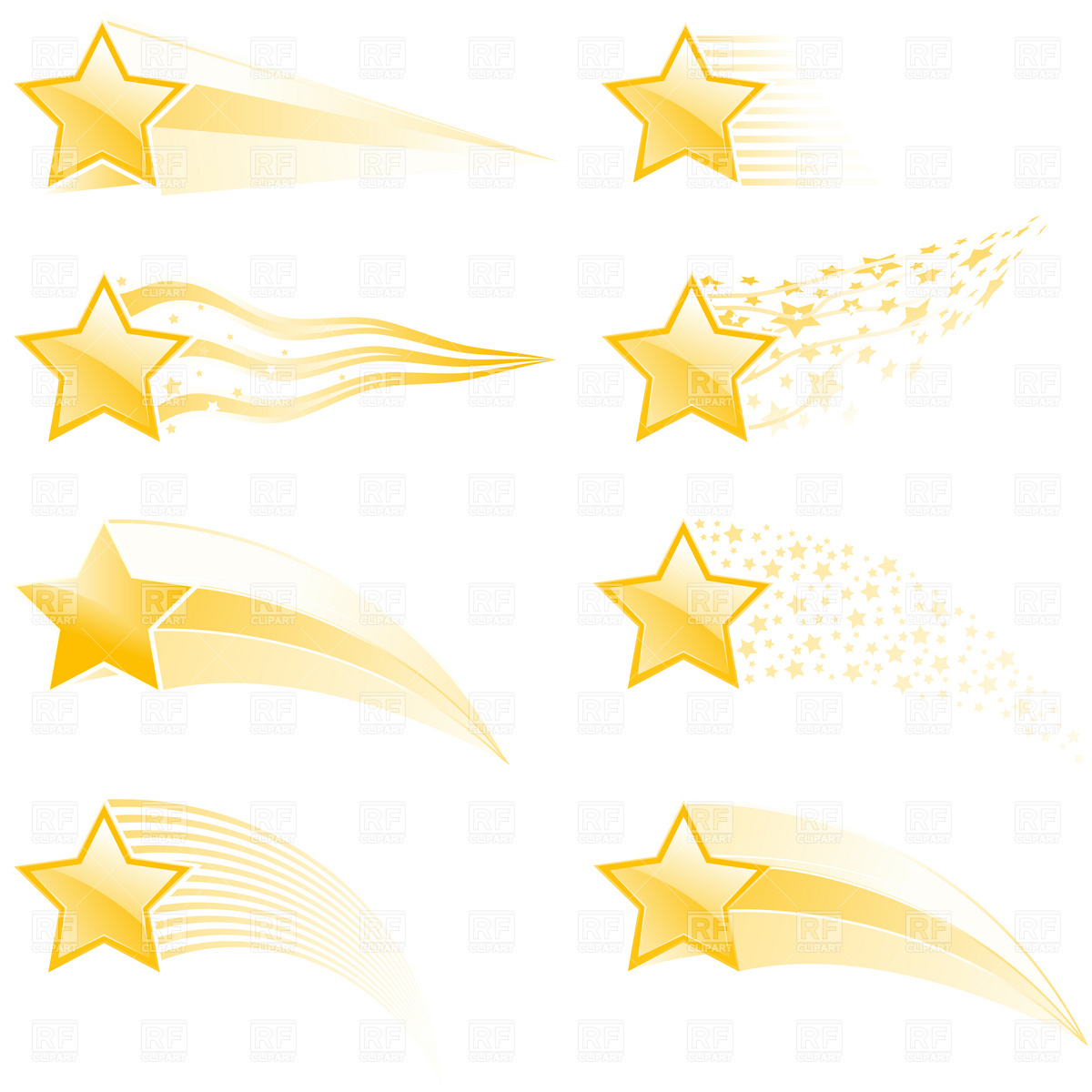 1200x1200 Flying Stars And Star Tracks In Different Style Royalty Free