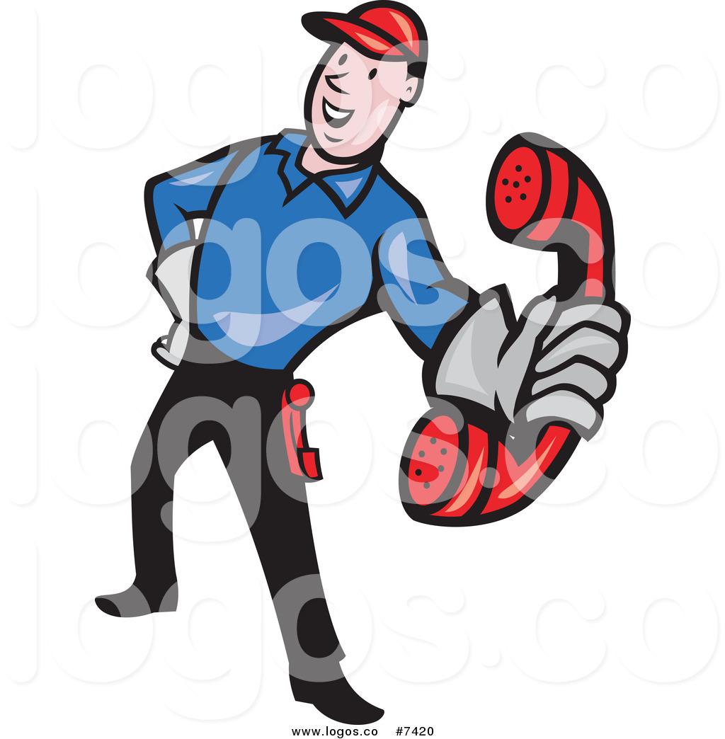 1024x1044 Royalty Free Clip Art Vector Logo Of A Telephone Repair Man