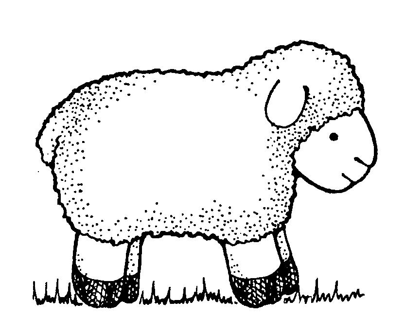 833x689 Lamb clipart black and white