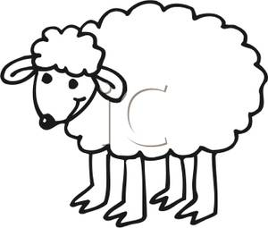 300x255 Black and White Cartoon of a Wooly Lamb