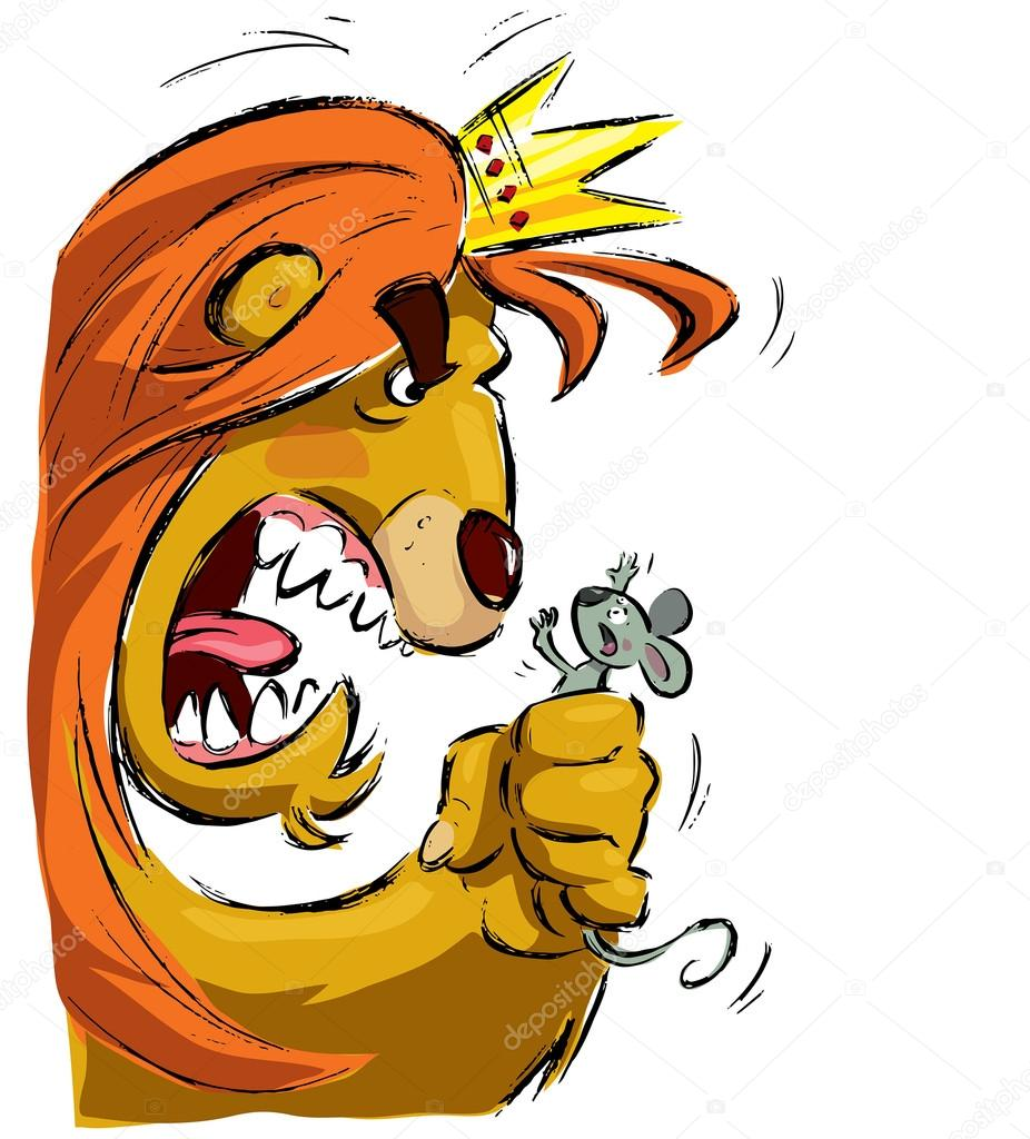 926x1024 Cartoon Lion Holding A Mouse Frightening It Stock Vector