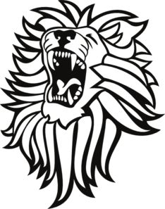234x297 Roaring Lion Head In Black And White