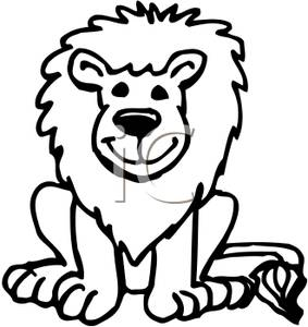 283x300 Art Image Black And White Smiling Lion