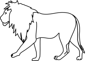 300x207 Walking Lion Clip Art