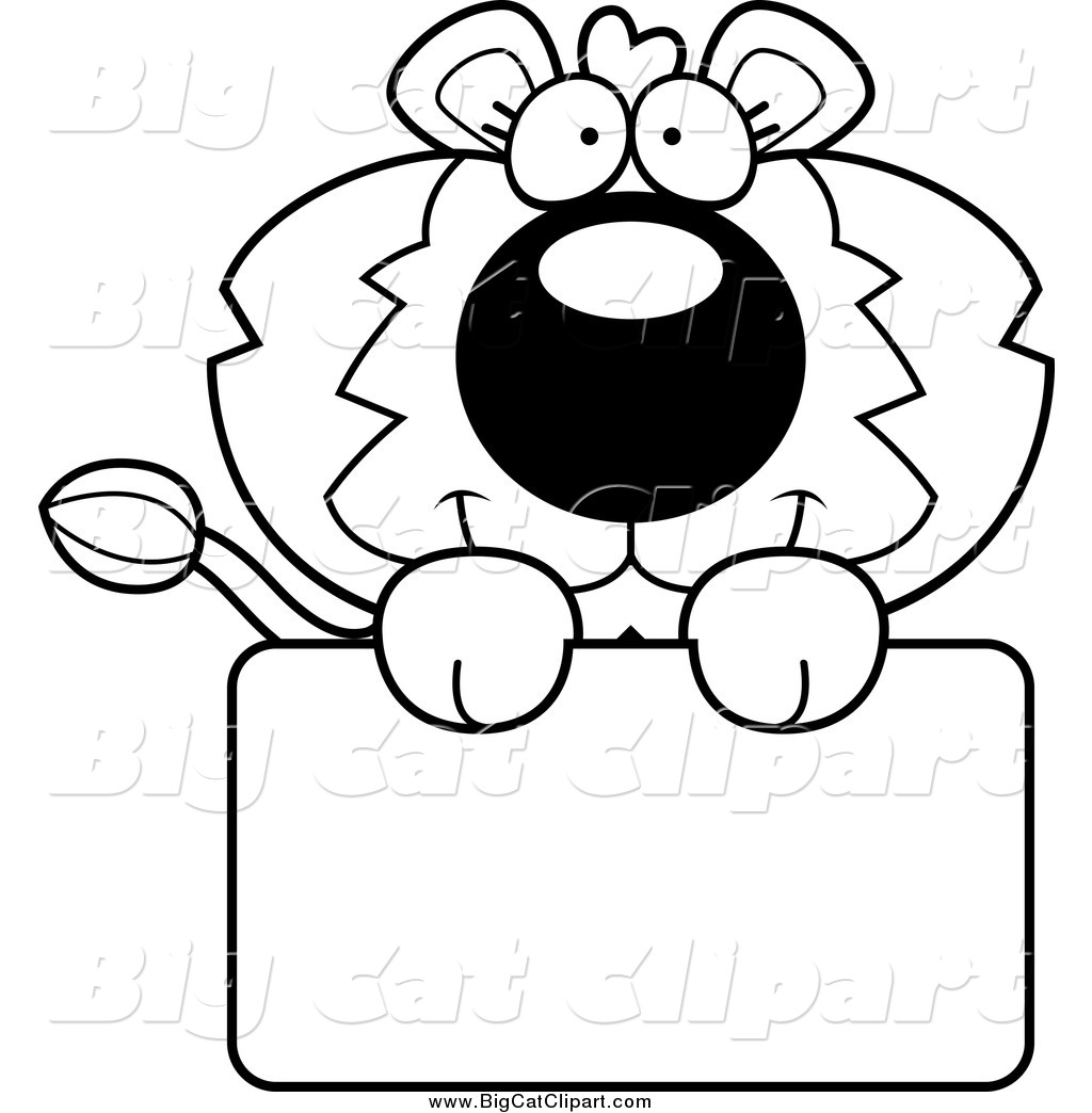 1024x1044 Big Cat Cartoon Vector Clipart Of Blacknd White Lion Holding