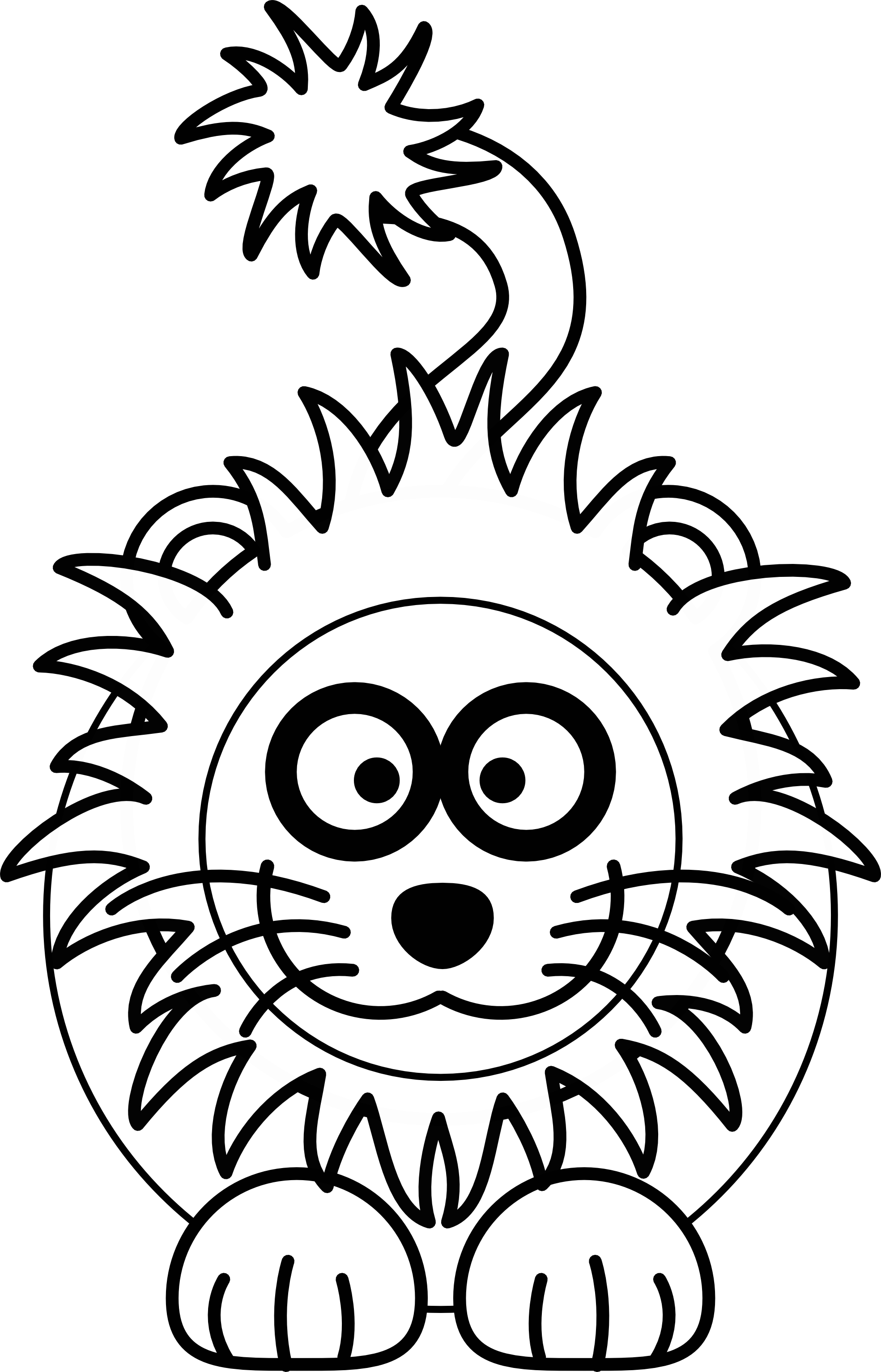 1969x3068 Cartoon lion black white Clipart Panda