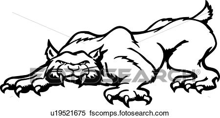 450x242 Clipart of , animal, bobcat, cartoons, cat, fang, feline, lion