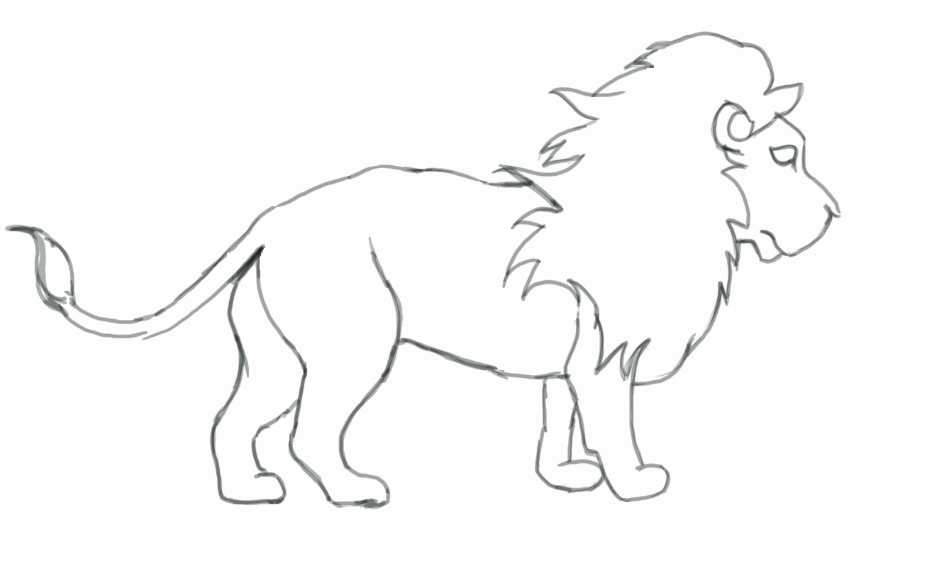 1307x791 Easy Pencil Sketches Of Cartoon Lion How To Draw Mufasa From Lion