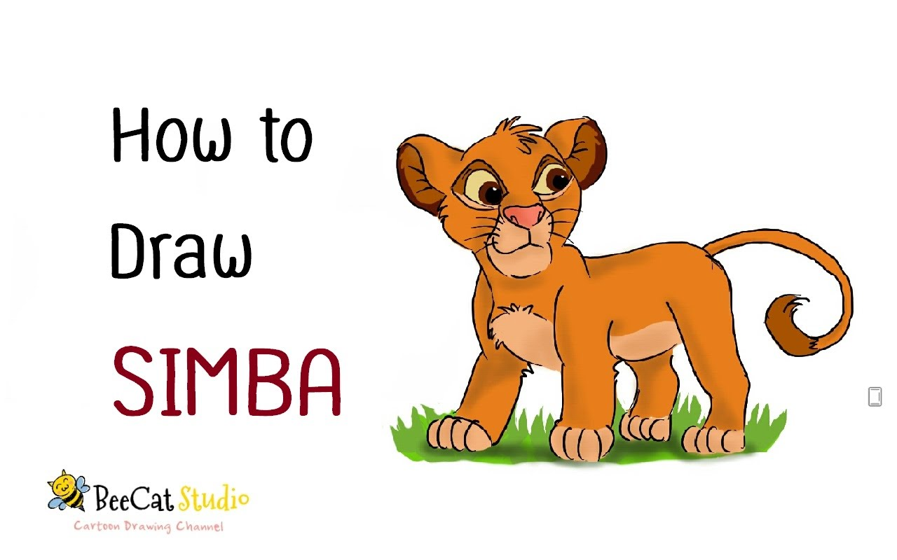 1280x800 How to draw SIMBA (Cartoon Lion)